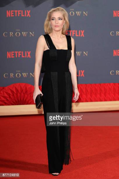 Actress Gillian Anderson attends the World Premiere of season 2 of Netflix 'The Crown' at Odeon Leicester Square on November 21 2017 in London England