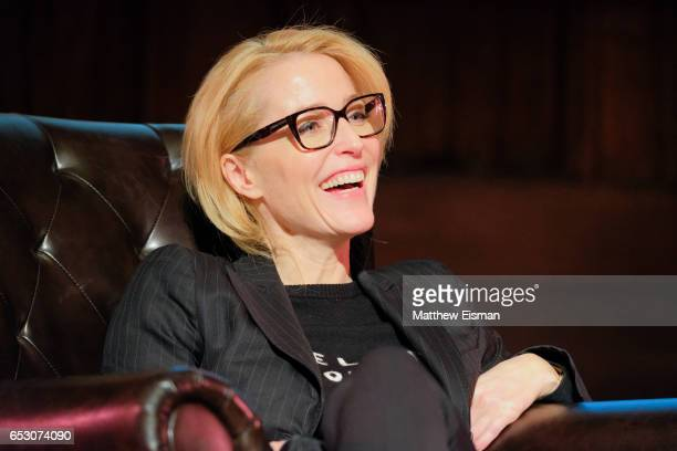 Actress Gillian Anderson discusses her new book 'WE A Manifesto for Women Everywhere' at New York Society for Ethical Culture on March 13 2017 in New...