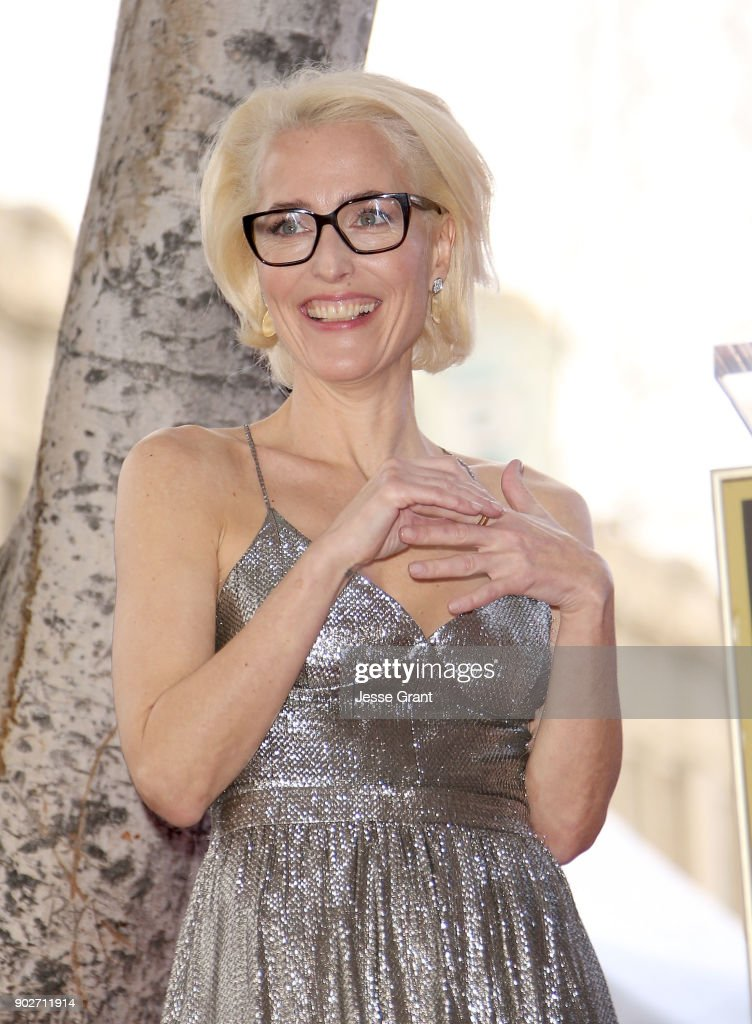 Actress Gillian Anderson honored with Star on The Hollywood Walk of Fame on January 8, 2018 in Hollywood, California.
