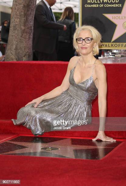 Actress Gillian Anderson honored with Star on The Hollywood Walk of Fame on January 8 2018 in Hollywood California