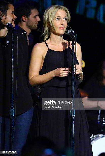 Actress Gillian Anderson joins David Duchovny for an encore at The Cutting Room on May 12 2015 in New York City