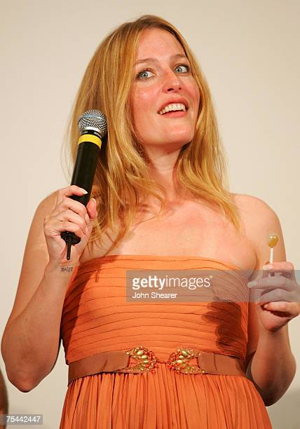 Actress Gillian Anderson speaks during a juror Q A at Cinema Truffaut during the Giffoni Film Festival on July 16 2007 in Giffoni Italy