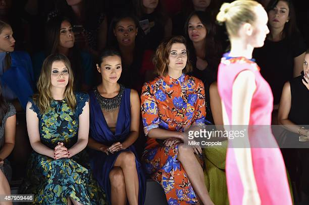 Actress Gillian Jacobs actress Jamie Chung and actress Mary Elizabeth Winstead attends Monique Lhuillier Spring 2016 during New York Fashion Week The...