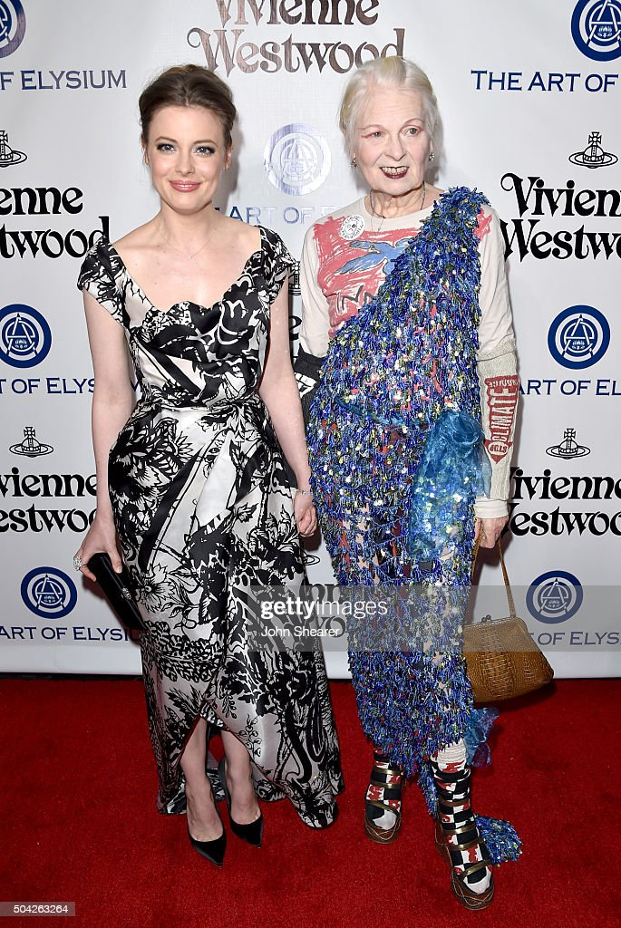 Actress Gillian Jacobs (L) and fashion designer VIvienne Westwood attend The Art of Elysium 2016 HEAVEN Gala presented by Vivienne Westwood & Andreas Kronthaler at 3LABS on January 9, 2016 in Culver City, California.