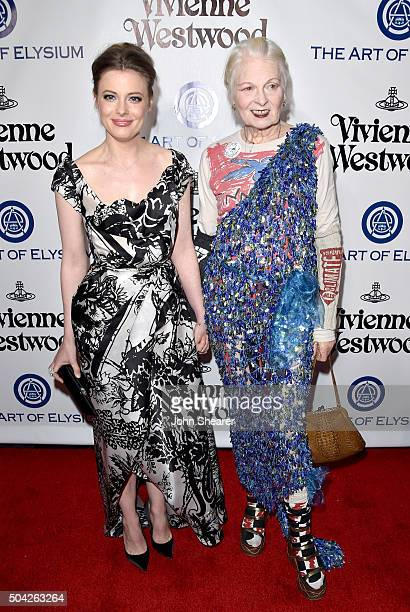 Actress Gillian Jacobs and fashion designer VIvienne Westwood attend The Art of Elysium 2016 HEAVEN Gala presented by Vivienne Westwood Andreas...