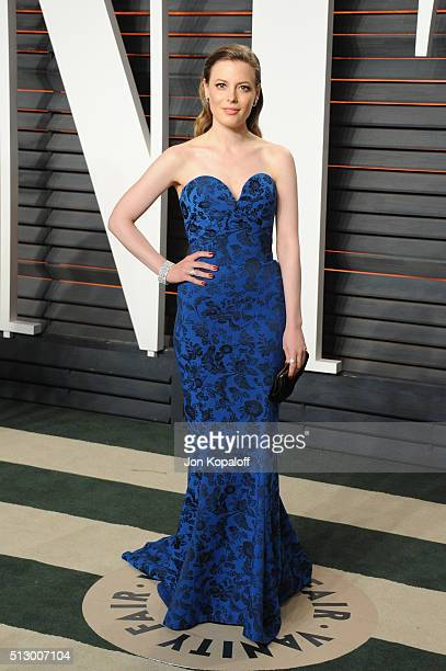 Actress Gillian Jacobs attends the 2016 Vanity Fair Oscar Party hosted By Graydon Carter at Wallis Annenberg Center for the Performing Arts on...