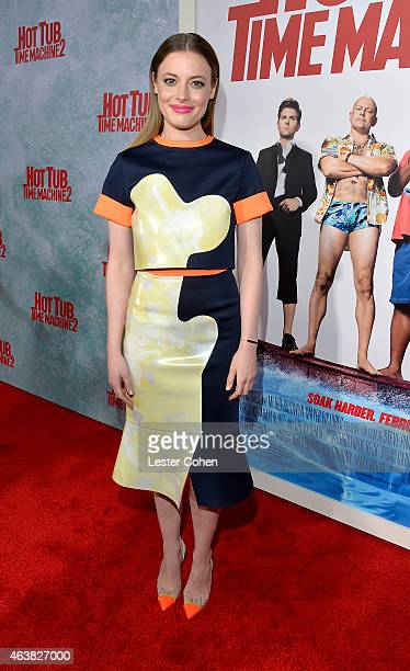 Actress Gillian Jacobs attends the premiere of Paramount Pictures' 'Hot Tub Time Machine 2' at Regency Village Theatre on February 18 2015 in...