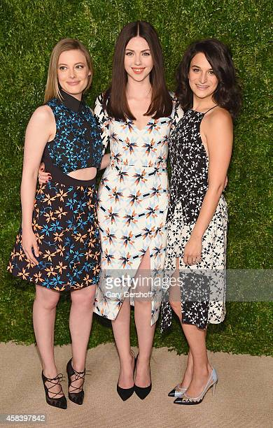 Actress Gillian Jacobs designer Tanya Taylor and actress Jenny Slate attend The 11th Annual CFDA/Vogue Fashion Fund Awards at Spring Studios on...