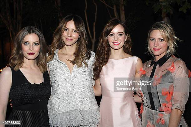 Actress Gillian Jacobs singer Katharine McPhee actresse Ahna O'Reilly and Brittany Snow attend the Lela Rose Los Angeles Dinner on November 4 2015 in...