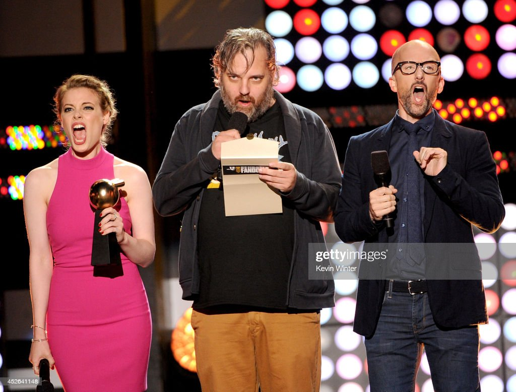 Actress Gillian Jacobs, Writer Dan Harmon and actor/writer Jim Rash speak onstage at the MTVu Fandom Awards during Comic-Con International 2014 at PETCO Park on July 24, 2014 in San Diego, California.