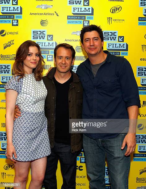 Actress Gillian Jacobs writer/director Jacob Vaughan and actor Ken Marino pose in the greenroom at the screening of Milo during the 2013 SXSW Music...
