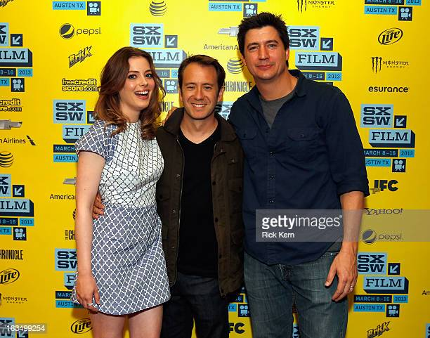 Actress Gillian Jacobs writer/director Jacob Vaughan and actor Ken Marino pose in the greenroom at the screening of 'Milo' during the 2013 SXSW Music...