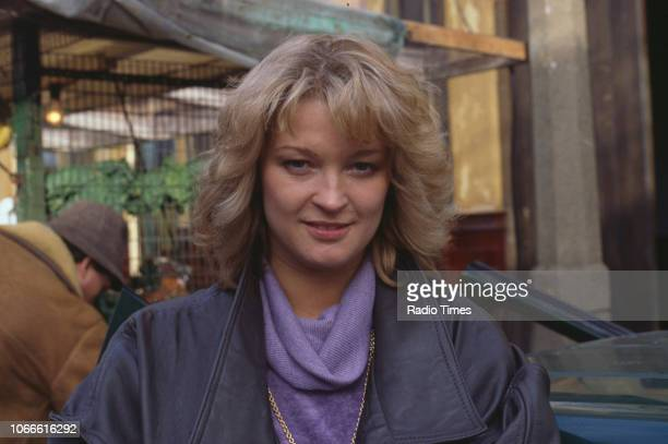 Actress Gillian Taylforth pictured on the exterior set of the BBC soap opera 'EastEnders' April 5th 1991