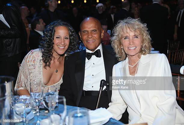 Actress Gina Belafonte singer Harry Belafonte and wife Pamela Frank attend the 28th Annual Rock and Roll Hall of Fame Induction Ceremony at Nokia...