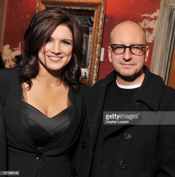 Actress Gina Carano and director Steven Soderbergh attend the Cinema Society Blackberry Bold screening after party for Haywire at Sons of Essex on...