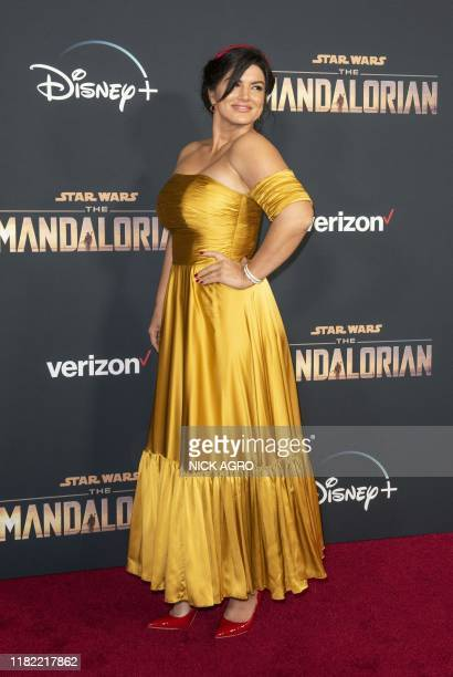 """Actress Gina Carano arrives for Disney+ World Premiere of """"The Mandalorian"""" at El Capitan theatre in Hollywood on November 13, 2019."""