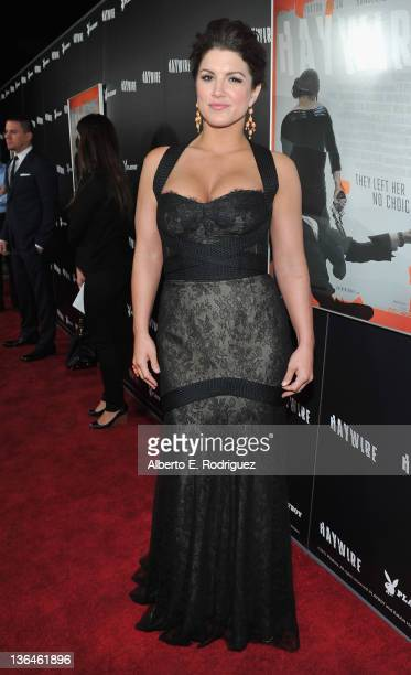 Actress Gina Carano arrives to the premiere of Relativity Media's Haywire at DGA Theater on January 5 2012 in Los Angeles California