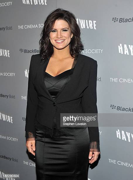Actress Gina Carano attends the Cinema Society Blackberry Bold screening of Haywire at Landmark Sunshine Cinema on January 18 2012 in New York City