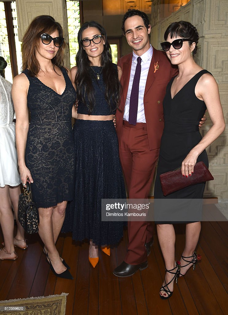 Actress Gina Gershon, actress Demi Moore, fashion designer Zac Posen and actress Selma Blair attend the M.A.C Cosmetics Zac Posen luncheon at the Ennis House hosted by Karen Buglisi Weiler, Demi Moore & Jacqui Getty on February 25, 2016 in Los Angeles, California.