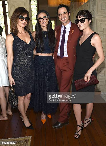 Actress Gina Gershon actress Demi Moore fashion designer Zac Posen and actress Selma Blair attend the MAC Cosmetics Zac Posen luncheon at the Ennis...