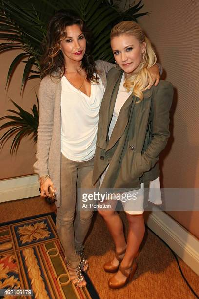 Actress Gina Gershon and Actress Emily Osment attend Crackle TCA Presentation at The Langham Huntington Hotel and Spa on January 12 2014 in Pasadena...
