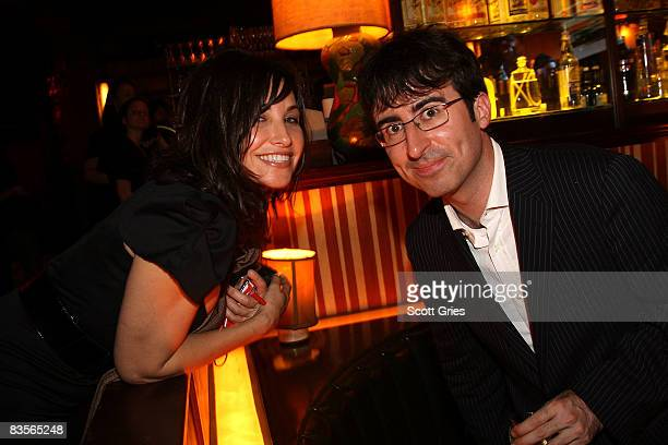 Actress Gina Gershon and comedian John Oliver attend Comedy Central's Indecision 2008 Election Night viewing party at The Park on November 4 2008 in...