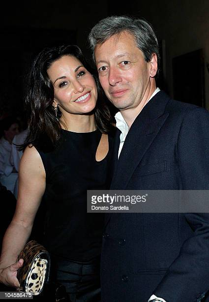 Actress Gina Gershon and designer Frederic Malle attend Barney's New York Celebrates Frederic Malle's Home Collectionon on September 30 2010 in Los...