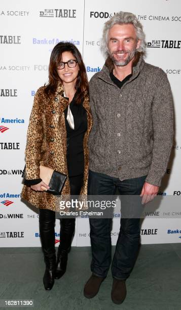Actress Gina Gershon and entrepreneur Bobby Dekeyser arrive at Bank of America and Food Wine with The Cinema Society present a screening of 'A Place...