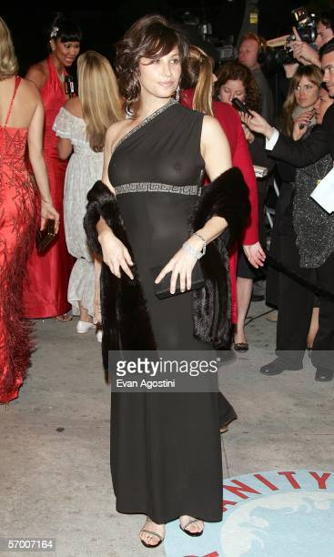 Actress Gina Gershon arrives at the Vanity Fair Oscar Party at Mortons on March 5 2006 in West Hollywood California