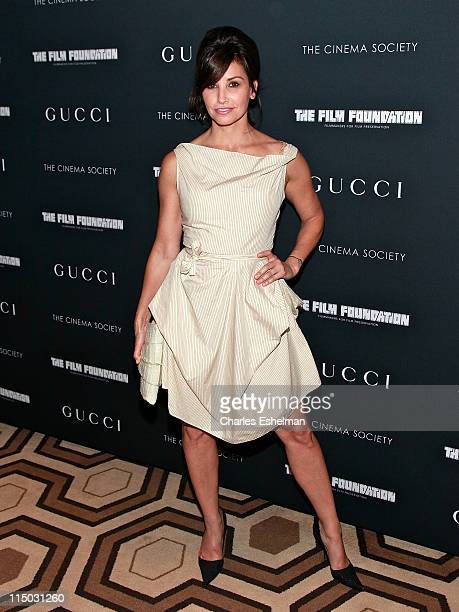 Actress Gina Gershon attends Gucci The Cinema Society with the Film Foundation screening of 'La Dolce Vita' at the Tribeca Grand Hotel on June 1 2011...