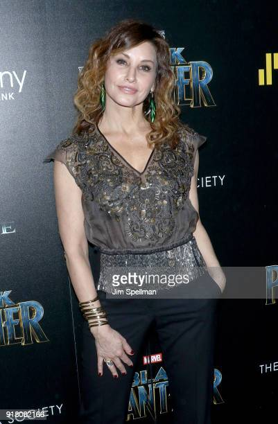 Actress Gina Gershon attends the screening of Marvel Studios' 'Black Panther' hosted by The Cinema Society with Ravage Wines and Synchrony at Museum...