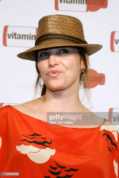 Actress Gina Gershon attends the Vitaminwater Celebrates in Style with The Best of Baseball and Music at Hudson Terrace on July 14 2008 in New York...