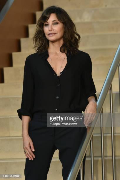 Actress Gina Gershon presents the filming of a new Woody Allen's movie in San Sebastián on July 09, 2019 in San Sebastián, Spain.