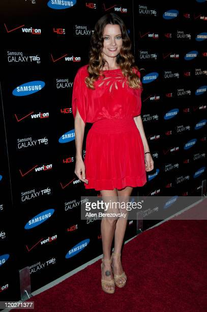 Actress Gina Holden arrives at the Samsung Galaxy Tab 101 launch party at The Beverly on August 2 2011 in Los Angeles California