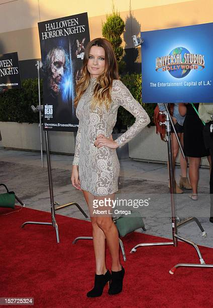 Actress Gina Holden arrives for Universal Studios Hollywood Halloween Horror Night and Eye Gore Awards Kick Off Party held at Universal Studios...