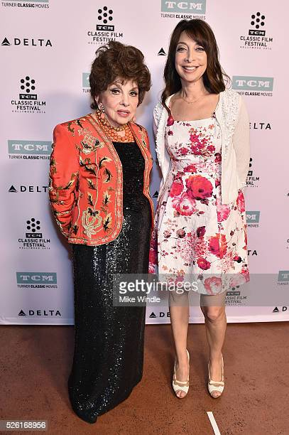 Actress Gina Lollobrigida and actress/author Illeana Douglas attend 'Trapeze' during day 2 of the TCM Classic Film Festival 2016 on April 29 2016 in...