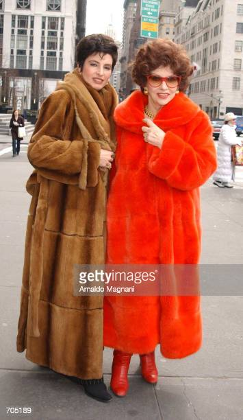 Actress Gina Lollobrigida and her friend Arlene Lazare leave a restaurant March 19, 2002 in New York City. She was in town for Liza Minnellis wedding.