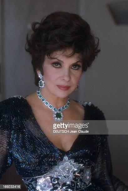 Actress Gina Lollobrigida poses at the 44th Cannes Film Festival on May 1991 in Cannes, France.