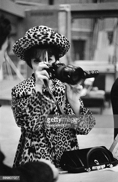Actress Gina Lollobrigida Taking A Photo In Paris, France, Circa 1960 .