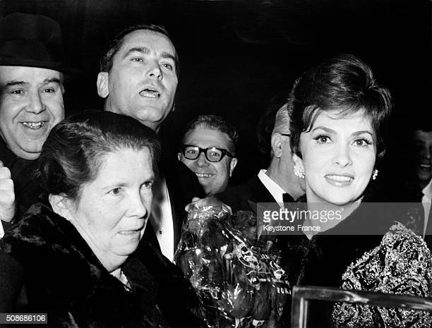 Actress Gina Lollobrigida With Mother And Husband Milko Skofic At the Premiere Of the Movie 'Venus Imperiale' Directed By Jean Delannoy in Rome Italy...