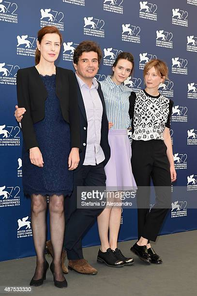 Actress Gina McKee director Nicolas Saada actresses Stacy Martin and Alba Rohrwacher attend a photocall for 'Taj Mahal' during the 72nd Venice Film...