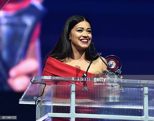 Actress Gina Rodriguez accepts the Female Star of Tomorrow Award during the CinemaCon Big Screen Achievement Awards brought to you by the CocaCola...