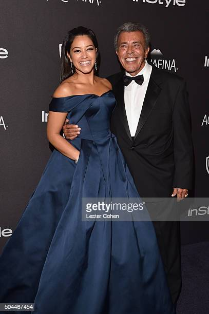 Actress Gina Rodriguez and boxing referee Genaro Rodriguez attend InStyle and Warner Bros 73rd Annual Golden Globe Awards PostParty at The Beverly...