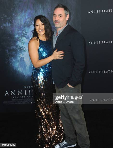 Actress Gina Rodriguez and director Alex Garland arrive for the Premiere Of Paramount Pictures' 'Annihilation' held at Regency Village Theatre on...