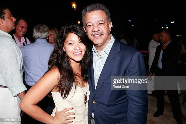 Actress Gina Rodriguez and ex President of the Dominican Republic Leonel Fernandez pose at the 6th Annual Dominican Republic Global Film Festival...