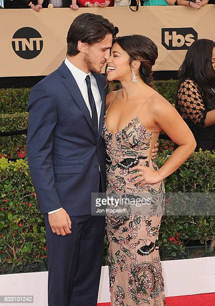 Actress Gina Rodriguez and Joe LoCicero arrive at the 23rd Annual Screen Actors Guild Awards at The Shrine Expo Hall on January 29 2017 in Los...