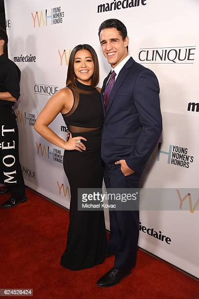 Actress Gina Rodriguez and Joe LoCicero attend Moet Chandon Celebrates The 2016 Young Women's Honors at Marina del Rey Marriott on November 19 2016...