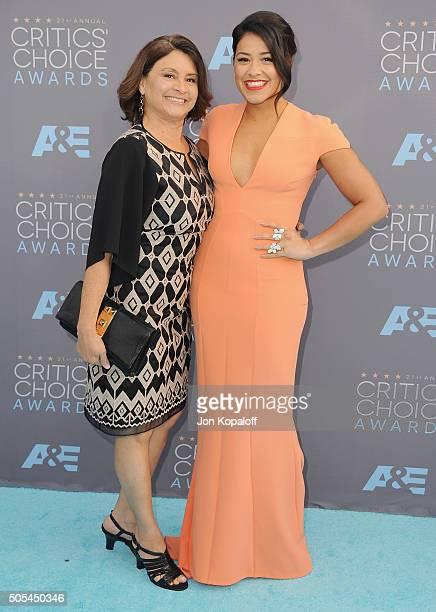 Actress Gina Rodriguez and mom Magali Rodriguez arrives at The 21st Annual Critics' Choice Awards at Barker Hangar on January 17 2016 in Santa Monica...