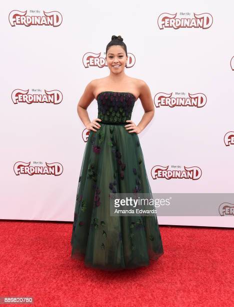 Actress Gina Rodriguez arrives at a screening of 20th Century Fox's 'Ferdinand' at the Zanuck Theater at 20th Century Fox Lot on December 10 2017 in...