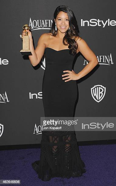 Actress Gina Rodriguez arrives at the 16th Annual Warner Bros. And InStyle Post-Golden Globe Party at The Beverly Hilton Hotel on January 11, 2015 in...